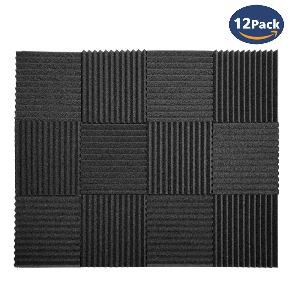 "12 Pack Set Acoustic Panels, Acoustic Foam Panels, Studio Wedge Tiles, Sound Panels wedges Soundproof Sound Insulation Absorbing 1"" X 12"" X 12"" CloverTale"