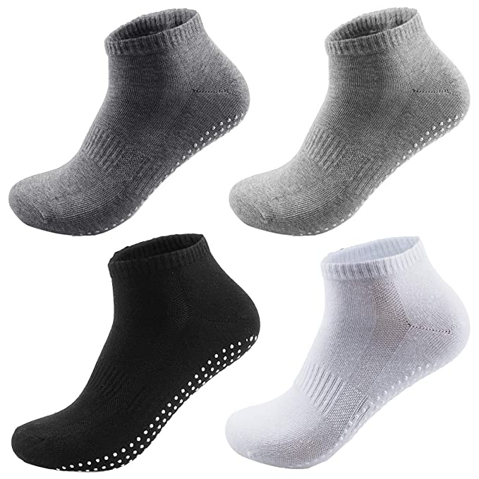 NATUCE Calcetines Antideslizantes 4 Pares Calcetines de Deporte para Hombre Mujer Algodón Transpirable Ideal para Yoga Pilates Fitness Artes Marciales ...