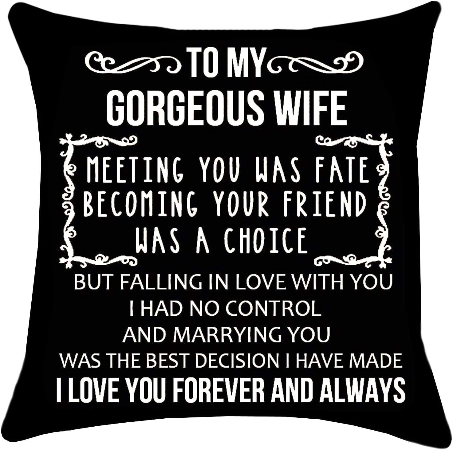 Zepolu to My Gorgeous Wife Throw Pillow Covers 18 x 18 Inch, Double Sided Cotton Linen Black Gift Pillowcases for Birthday Anniversary Wedding, Square Cushion Covers for Sofa Chair Home Office Decor