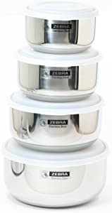 Leak Proof (18-8) Stainless Steel Food Storage Containers Nesting Set of 4