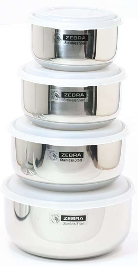 Zebra Leak Proof 18 8 Food Storage Containers Nesting Set Of 4 H 71