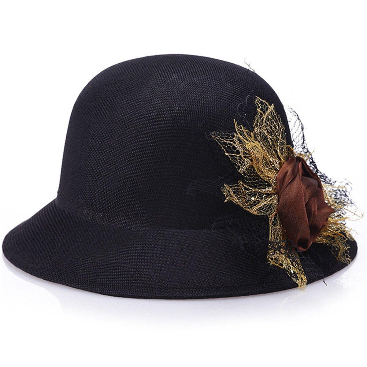 Qhome Womens Fedoras Hat For Female Bowler Hat Ladies Brand Beach Hat Summer Casual Vintage Cap Travel Flower Cap