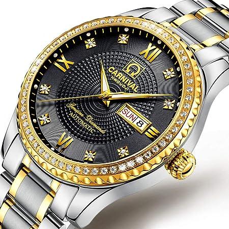 LZ Relojes de Pulsera Hombres, Reloj automático para Hombres con Estuche de Tono Dorado, Bisel con Incrustaciones de Cristal Relojes para Hombres Correa de eslabones de eslabones en Dos Tono: Amazon.es: Hogar