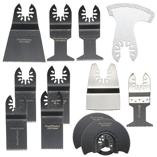 BABAN 12pcs Outil Multifonction Lames Lame Oscillante Outils à Usages Multiples, Facile à Utiliser- Caractéristiques pour Scier, Couper, Racler, Façonner, Polir et Enlever le Coulis