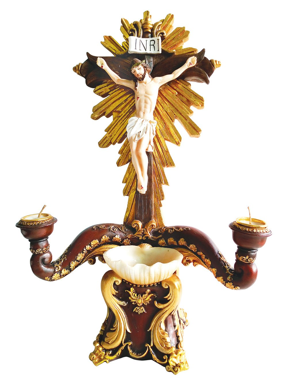 14 Inch French Style Crucifixion Candle with Water Holder