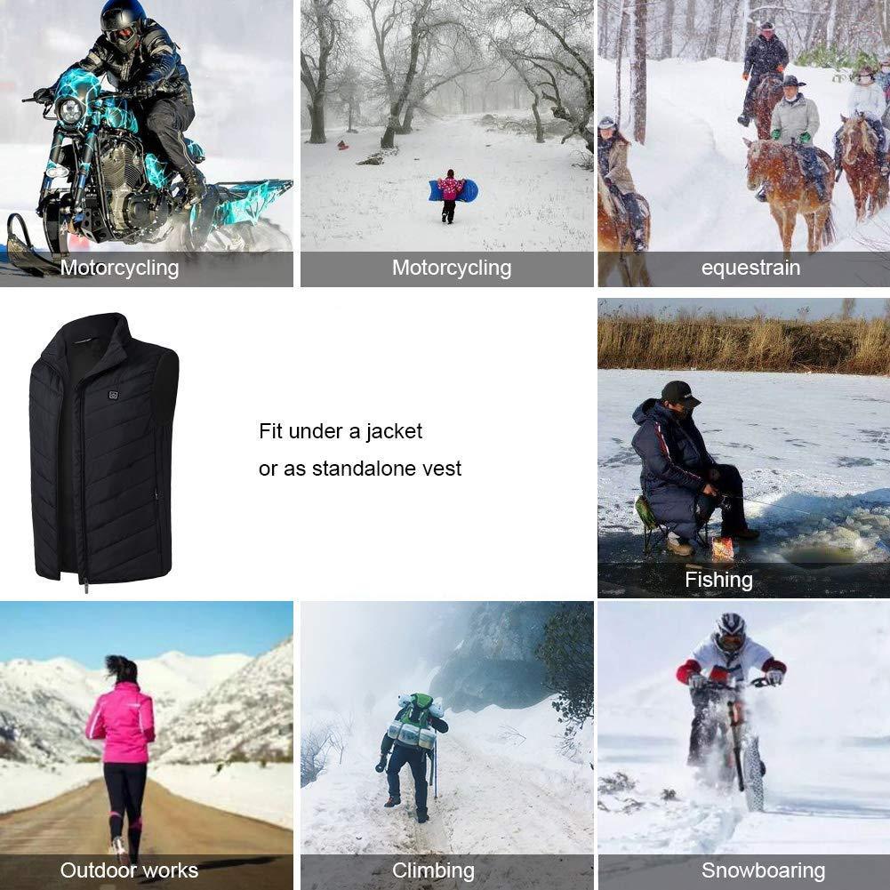 Decyam Gilet Sportivo Outdoor Invernale riscaldato con Ricarica USB Regolabile Leggero Sicuro Intelligente Temperatura costante Unisex Caldo Elettrico Caldo Gilet
