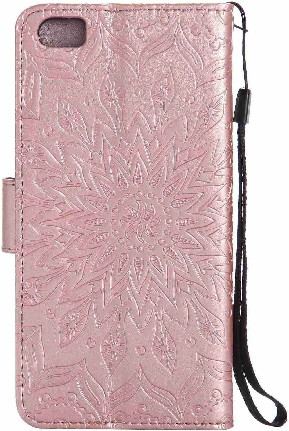 pinlu® Flip Funda de Cuero para Xiaomi Mi5 Carcasa con Función de Stent y Ranuras con Patrón de Girasol Cover (Oro Rosa): Amazon.es: Electrónica