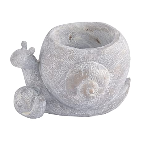 Uxcell Resin Snail Shaped Household Office Aloes Cactus Flower Pot Light  Gray Photo