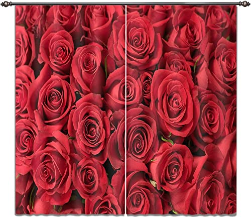 LB Rose Flower 3D Window Curtains for Bedroom Living Room,Blooming Red Rose Wall Scenery Teen Kids Room Darkening Blackout Curtains Drapes 2 Panels,42 x 84 Inches