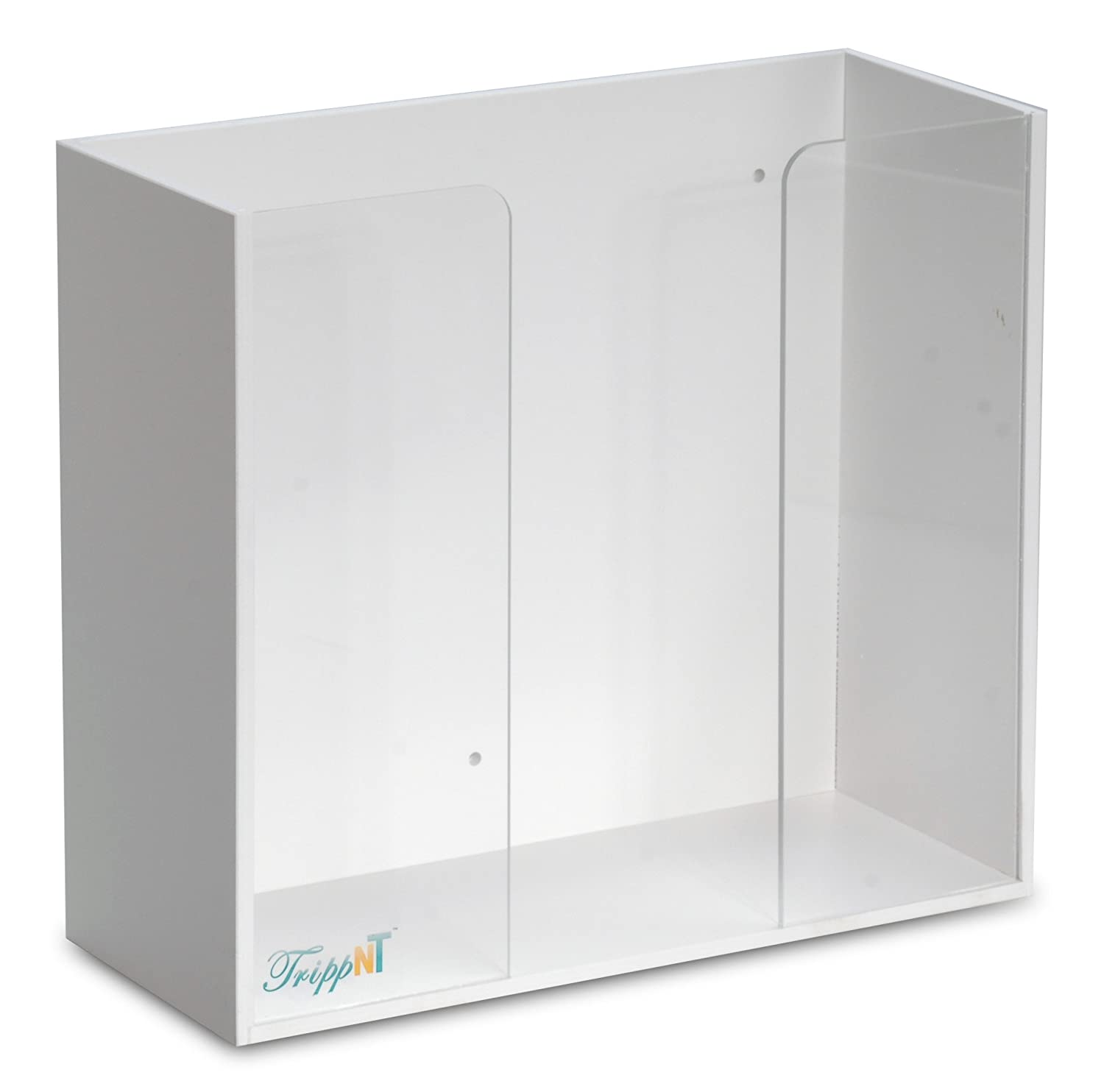 TrippNT 50098 White PVC and Acrylic Double Top Loading Glove Box Holder, 11.5' W x 10.25' H x 4.75' D 11.5 W x 10.25 H x 4.75 D