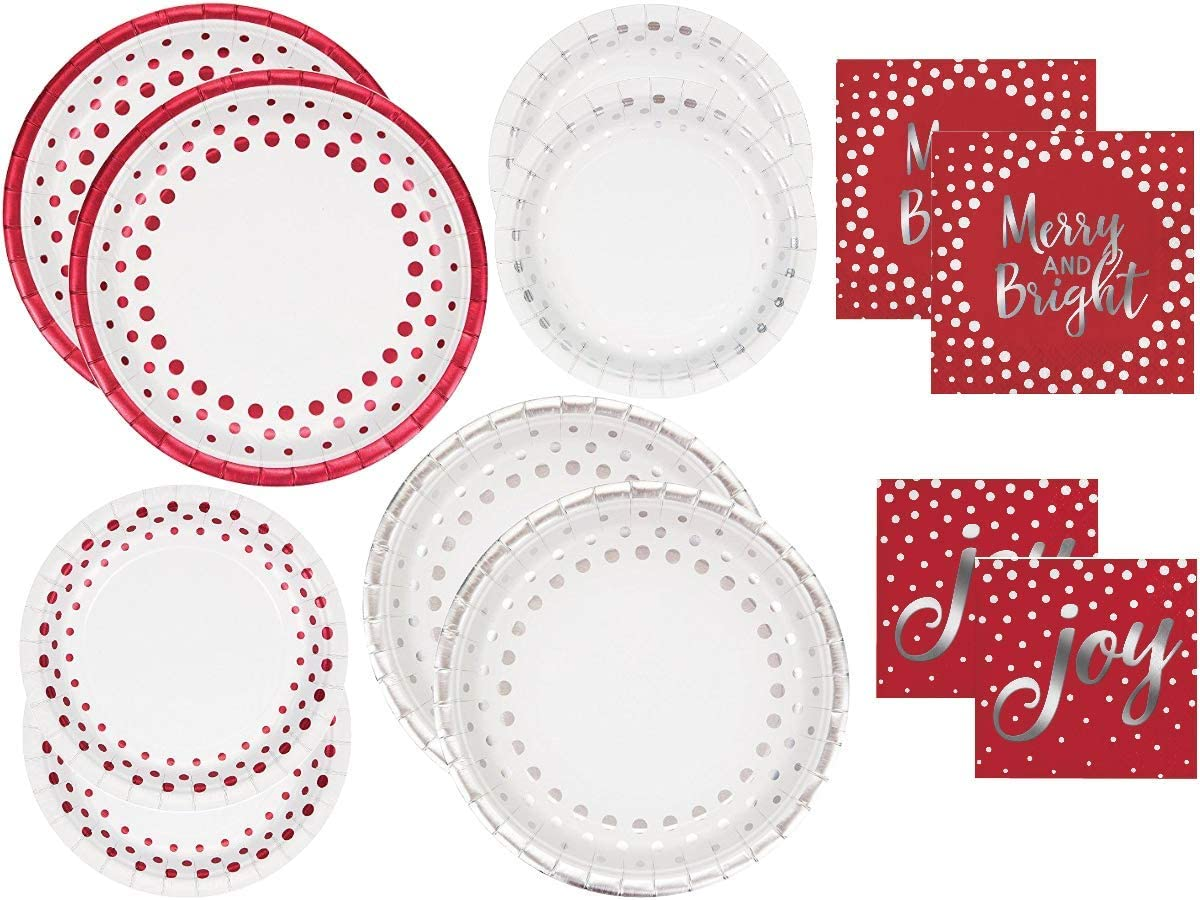 Holiday Sparkle and Shine Disposable Paper Tableware Kit, Foil Stamped Merry and Bright and Christmas Joy Plates and Napkins Party Supply Set, Dinnerware Bundle for Entertaining, Serves 16 Guests