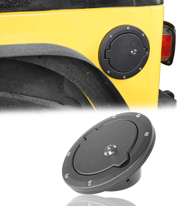 Lock Key Black Bolt-On Gas Fuel Tank Door Cover Cap For Jeep Wrangler 97-06 TJ