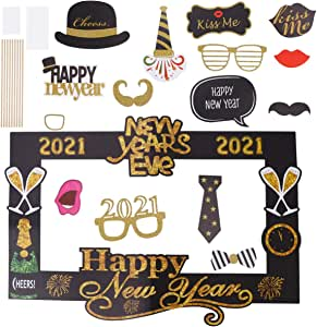 Amazon.com: BESTOYARD 15Pcs 2021 New Years Photo Booth Props Kit Funny New Years Eve Party ...