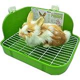 RUBYHOME Rabbit Litter Box Toilet, Plastic Square Cage Box Potty Trainer Corner Litter Bedding Box Pet Pan for Small…