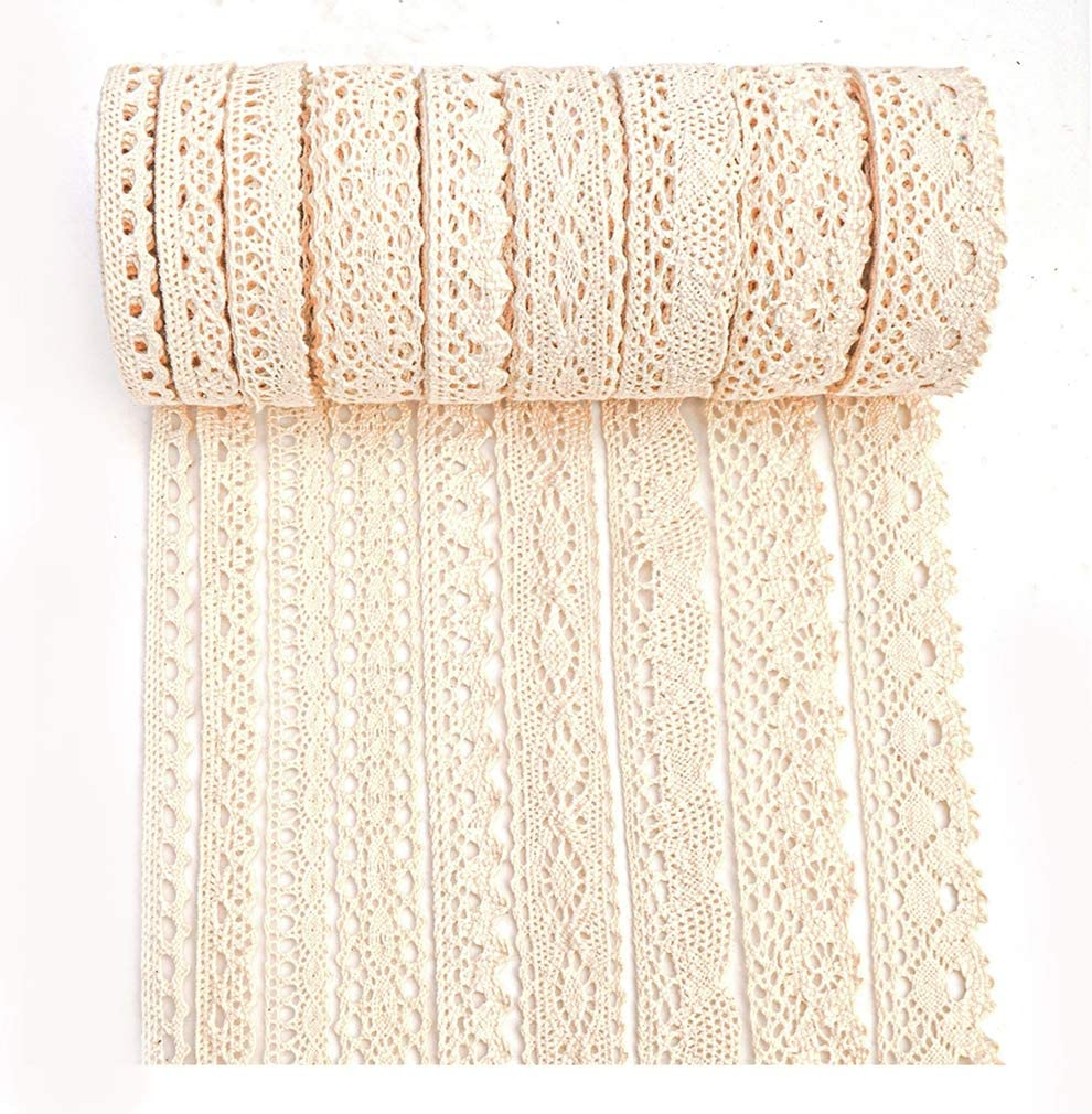 5 Yards Each IDONGCAI Beige Cotton Lace Trim Lace Ribbon Fabric Fringe Trim DIY Sewing Handmade Craft Materials Home Furnishing Garment Lace Accessories 45 Yards