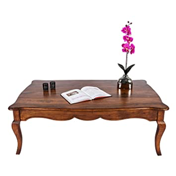 Homescapes New Orleans Solid Acacia Wood Coffee Table Cabriole Legs, Dark  Honey Finish, Antique