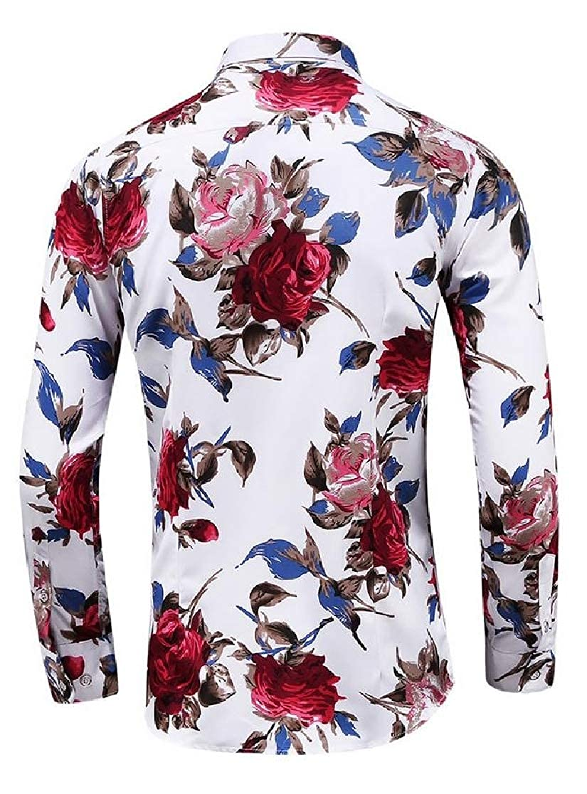 Joe Wenko Men Printing Turn Down Long Sleeve Concise Floral Button Front Shirts