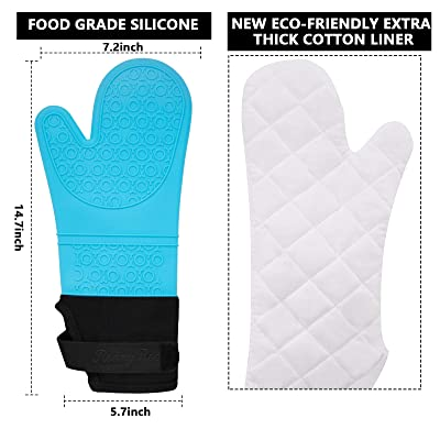 Silicone Oven Gloves Heat Resistance Soft Cotton Lining Non Slip Mitts Black New