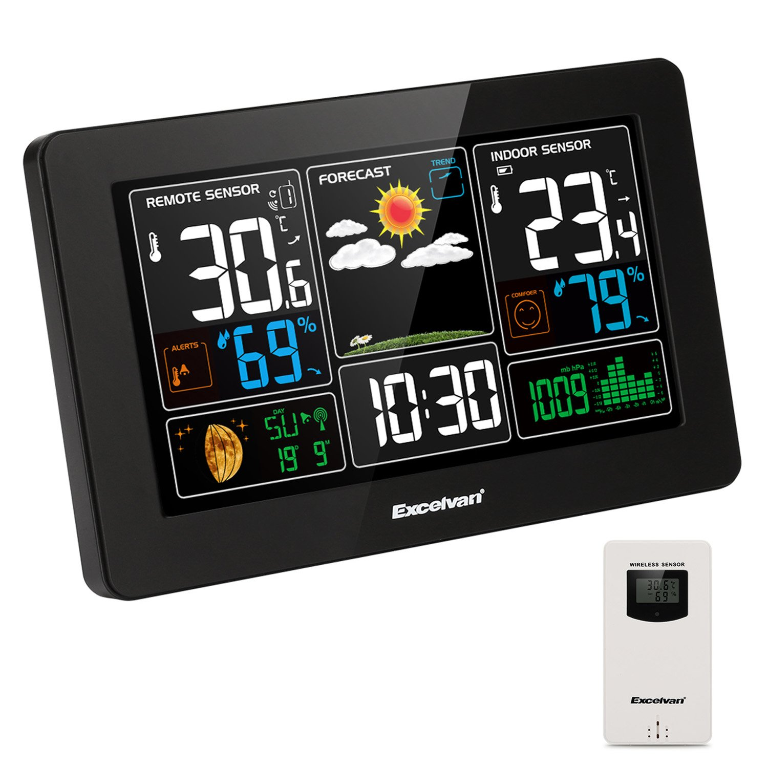 Excelvan Digital Wireless Weather Station with Large LCD Color Display, Barometer for Weather Forecast with Indoor and Outdoor Sensor, Temperature Humidity Monitor, Alarm Clock, Black