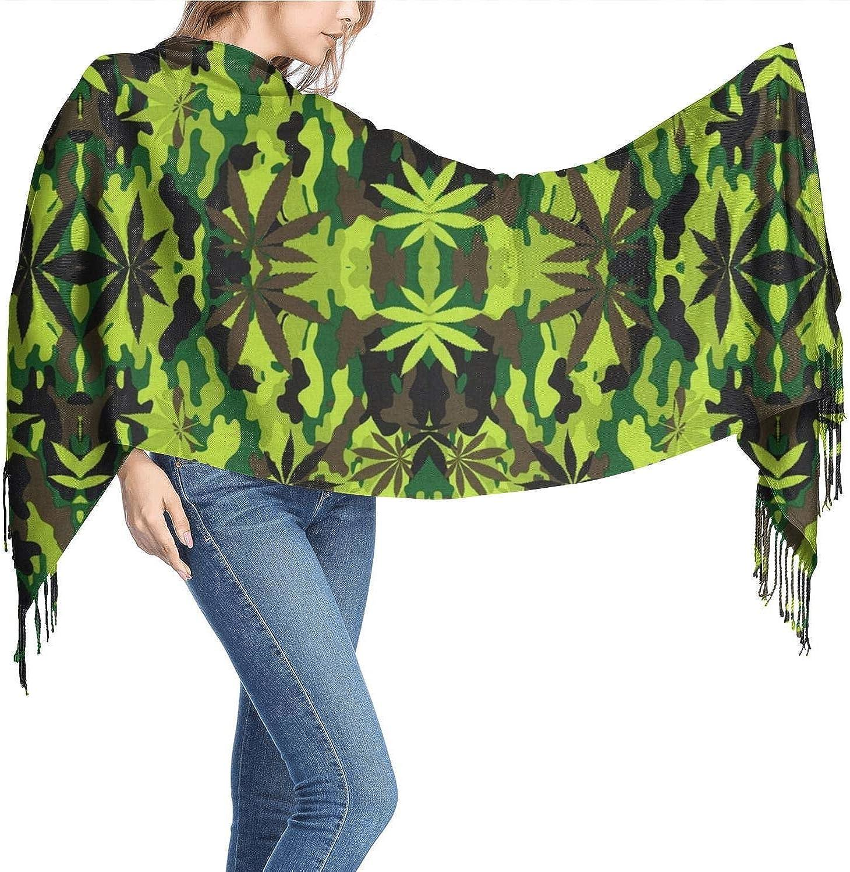 Camuflaje Marihuana Estampado Cachemira Mujer Bufandas Bufandas Bufandas para mujer Pañuelo en la cabeza Bufanda cálida 77
