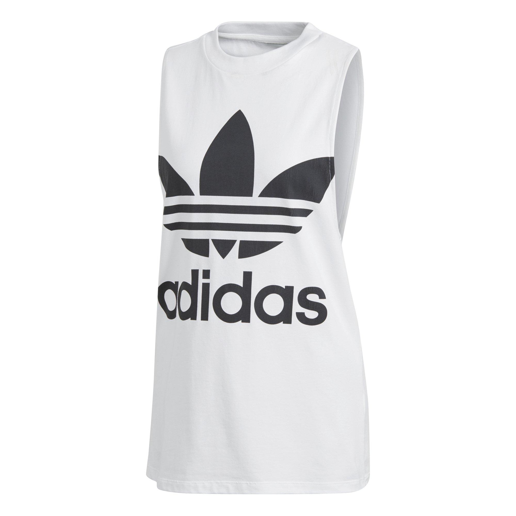 adidas Women's Trefoil Tank Top, White/Black, XL