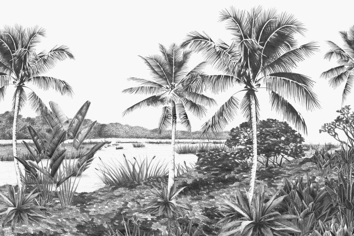 dESTAhome.nl 158901 papier peint mural paysage tropical avec des palmiers noir et blanc