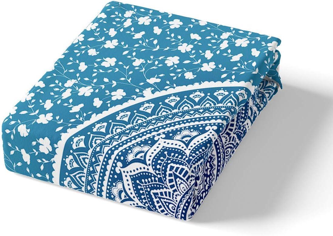 feelyou Bohemia Ethnic Style Mandala Design Duvet Cover Set Exotic Luxury Blue Lightweight Microfiber Bedding Set 2Pcs with Zipper Closure Twin