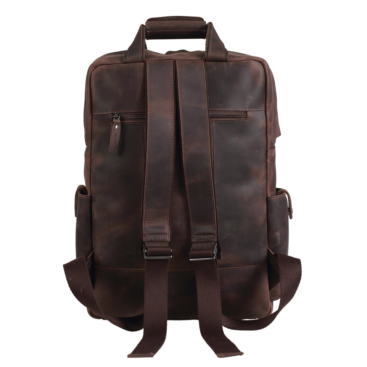 c72e442f3bef Amazon.com  Texbo Full Grain Cowhide Leather Multi Pockets 16 Inch Laptop  Backpack Travel Bag  Computers   Accessories