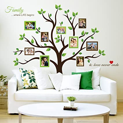 Amazon.com: Timber Artbox Large Family Tree Photo Frames Wall Decal ...