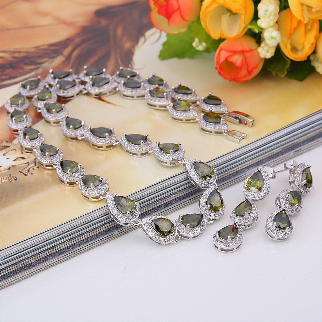 Ever Faith Femme Zircon /Él/égant Mariage Goutte deau Collier+Bracelet+Boucles doreilles Parures Ton dargent