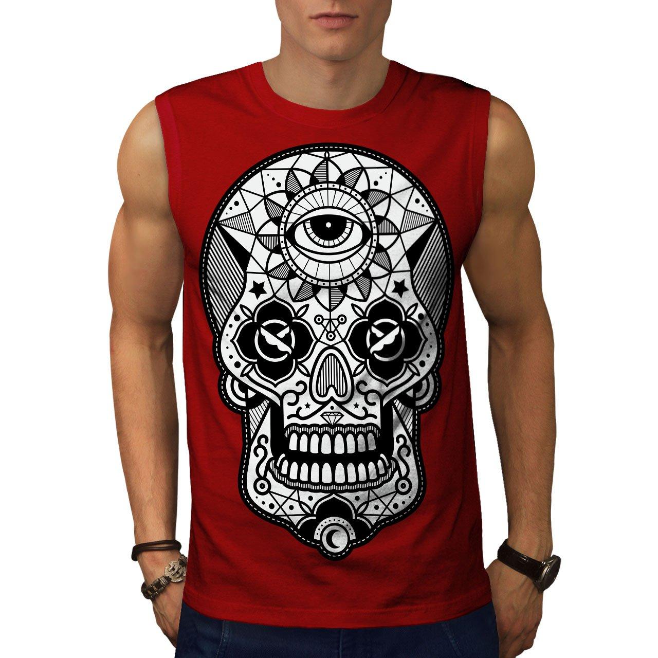 Wellcoda Mens Sleevless T-Shirt, Face Active Top Shirt