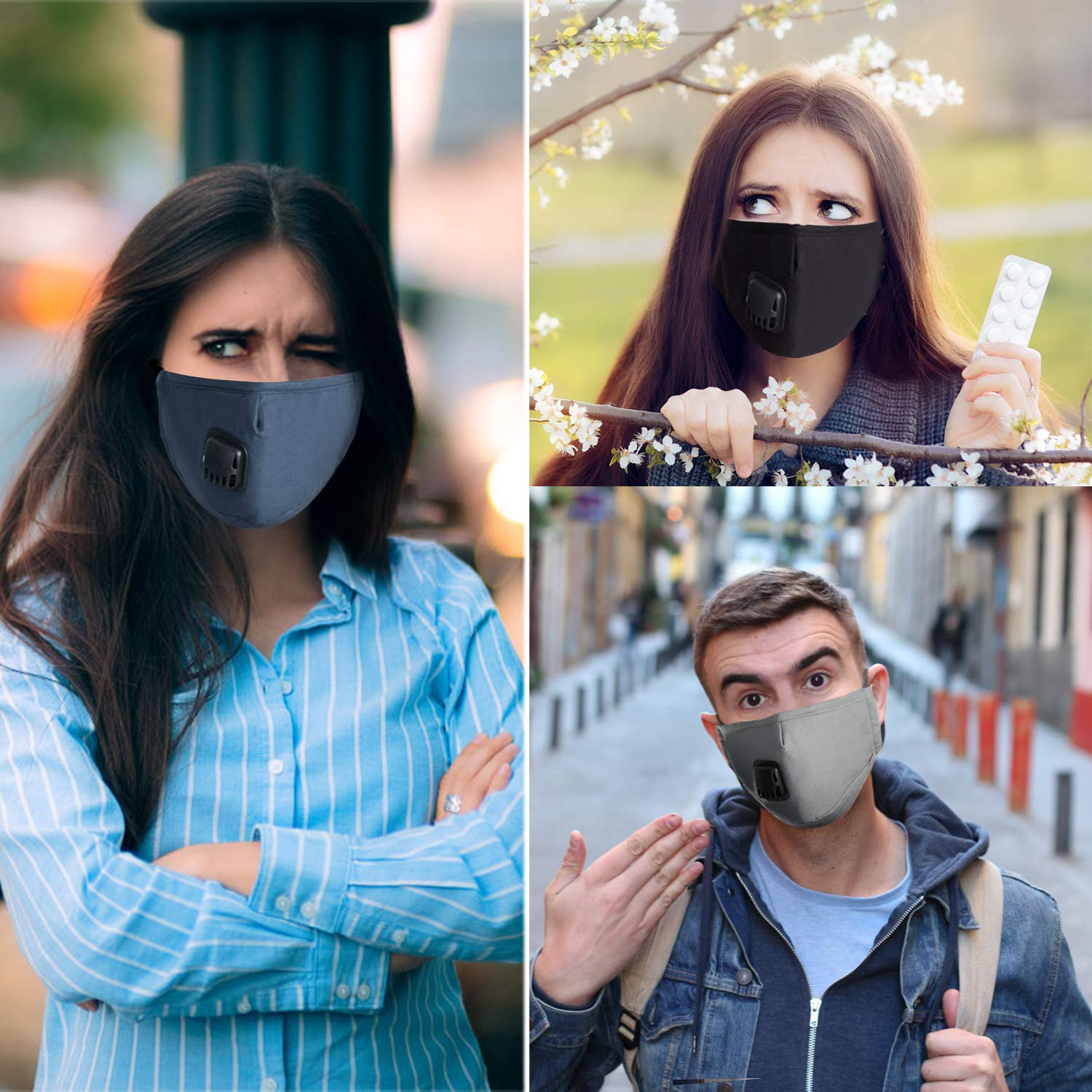 Mouth Masks,Kapmore 3PCS Anti Dust Pollution Mask Breathable Washable Fashion Cotton PM2.5 Dust Mask Mouth Mask with Adjustable Straps for Adult