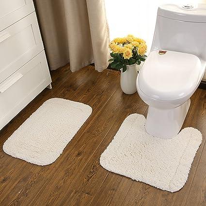 Amazon.com: USIX Soilid Color Soft Cotton Machine-Washable Bathroom ...