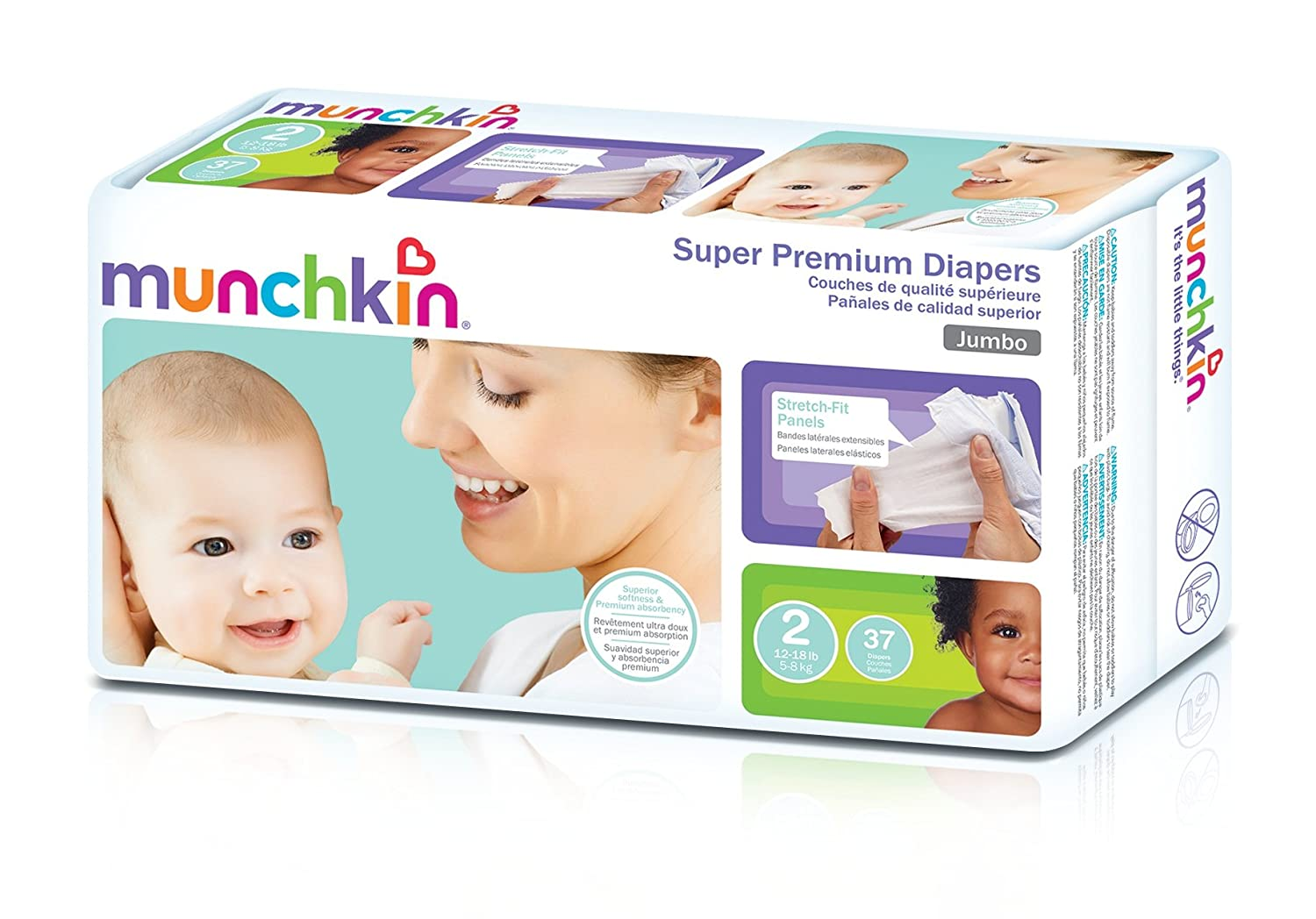 Amazon.com: Munchkin Super Premium Diapers, Size 2/Small-Med Ultra (12-18 Pounds), 148 Count: Health & Personal Care