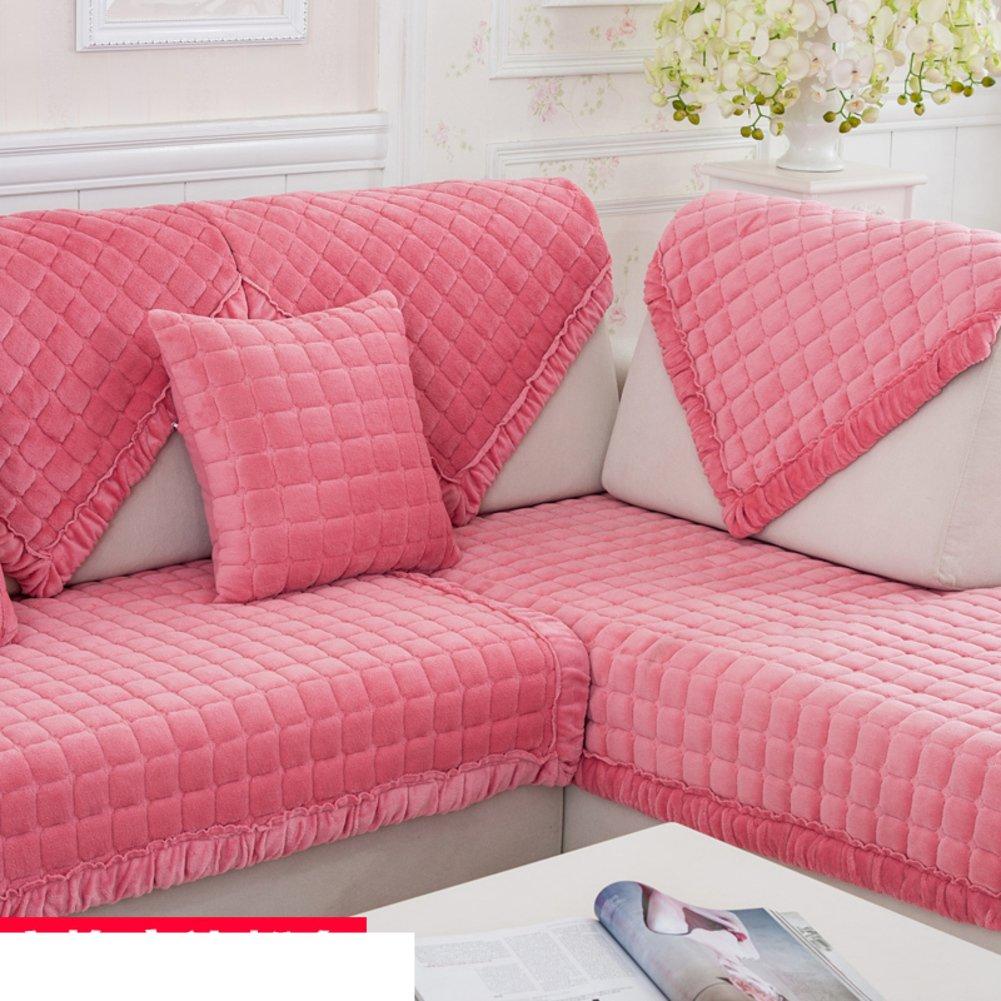 DW&HX Winter padded plush sofa cushions Fashion slip sleeve cover European flannel solid wood cushion-G 90x160cm(35x63inch) by DW&HX (Image #1)