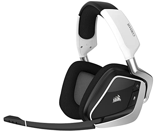 CORSAIR VOID PRO RGB Wireless Gaming Headset - Dolby 7.1 Surround Sound Headphones for PC - Discord Certified - 50mm Drivers - White