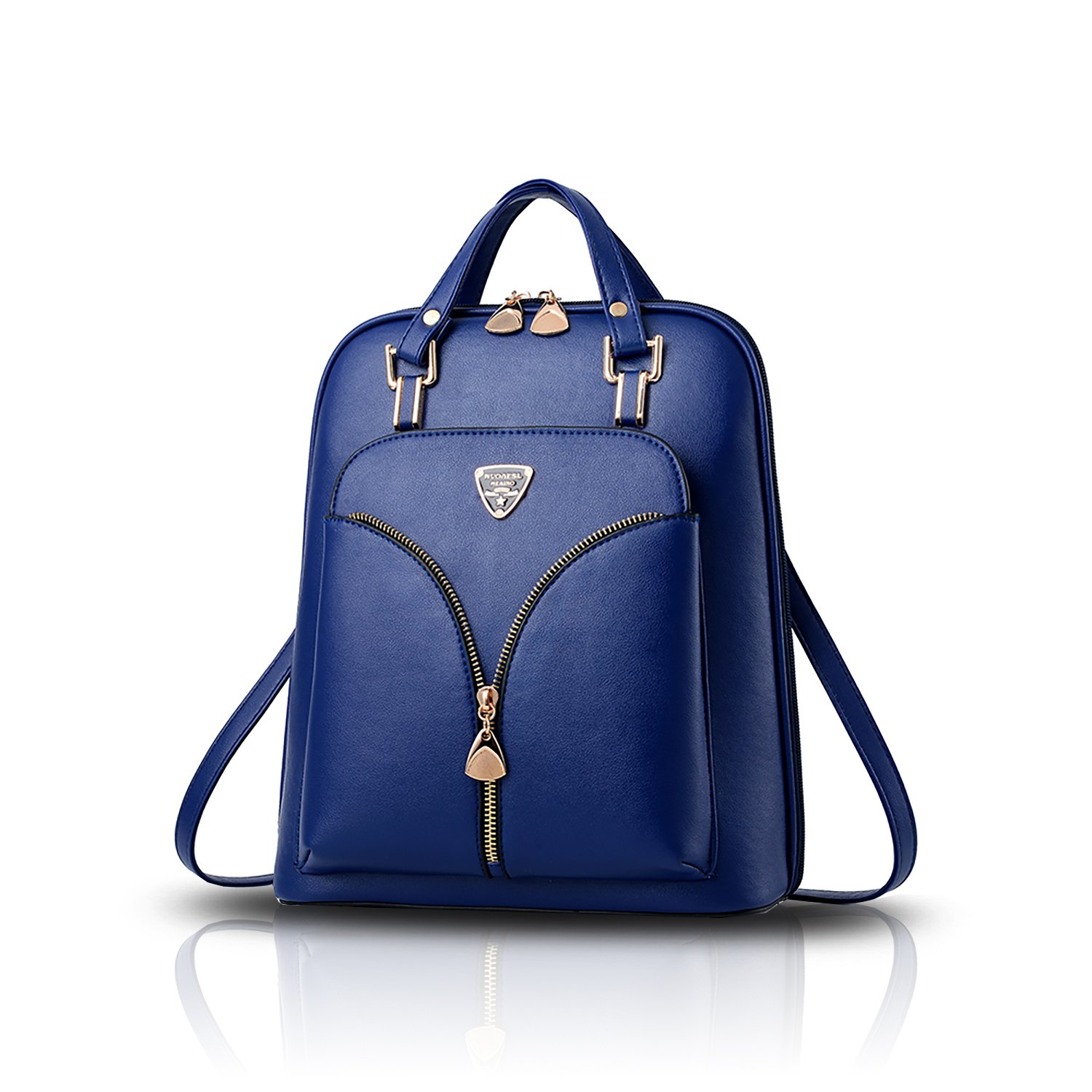 Sunas 2017 New Shoulder Bag Women's Bag PU Student Fashion Tide Bag Personalized Leisure Travel Dual Purpose Backpack (Navy Blue)