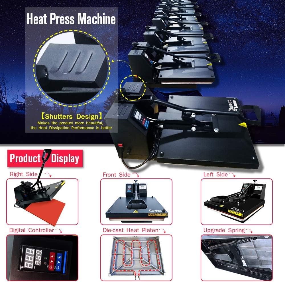 PlanetFlame CE Clamshell Heat Press Machine T-Shirt Sublimation Transfer Presses Black 15 x 15