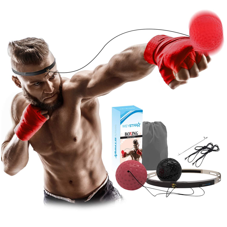 Weystar ボクシングリフレックスボール 視覚と手の協調トレーニングボール 紐付き 子供と大人用 反応性リフレックスボール 調節可能なボクシングボールヘッドバンド 難易度ボール2個付き   B07RPJK188