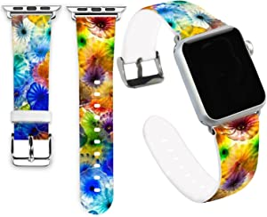 Jolook for Apple Watch 38mm Series 4 Bands, Jolook Soft Leather Sport Style Replacement iWatch Strap for Apple Watch 38mm 40mm Series 6/5/4/3/2/1 - Colorful Jellyfish