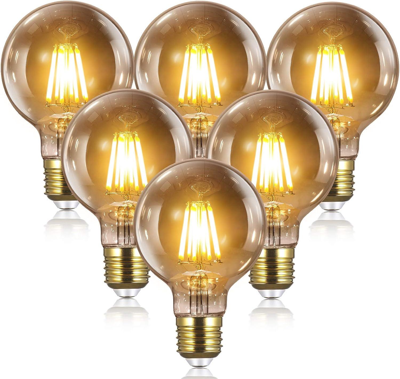 Bombillas Vintage Edison LED E27 - 8W(equivalente a 80W) 2700K / 1000LM, YUNLIGHTS 6PCS G80 Bombillas Edison Retro Filamento Bombilla Edison E27 Blanco Cálido [Clase de eficiencia energética A+]