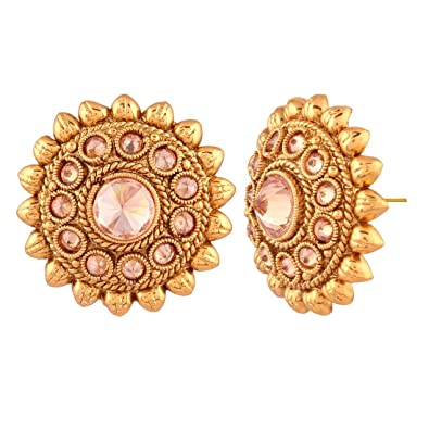 14a16cf6347 Buy ACCESSHER Indian Traditional Antique Gold Rajwadi Kundan Stud Earrings  Online at Low Prices in India