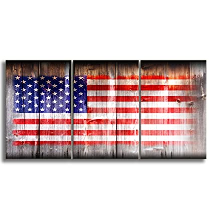 Amazon Com Kalawa Wooden Flag Wall Pictures For Living Room Rustic