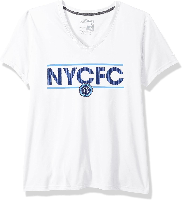 MLS Los Angeles Galaxy Adult Women Dassler Pattern Ultimate S//V-Neck Tee White Medium