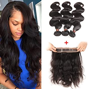 Brazilian Body Wave with 360 Frontal 8A Brazilian Virgin Hair Body Wave 360  Lace Frontal with f82f87d24
