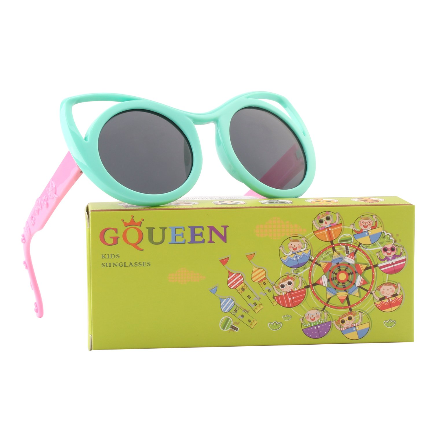 GQUEEN Rubber Flexible Kids Cateye Polarized Sunglasses for Boys Girls ET22 US-S81GQ22-8