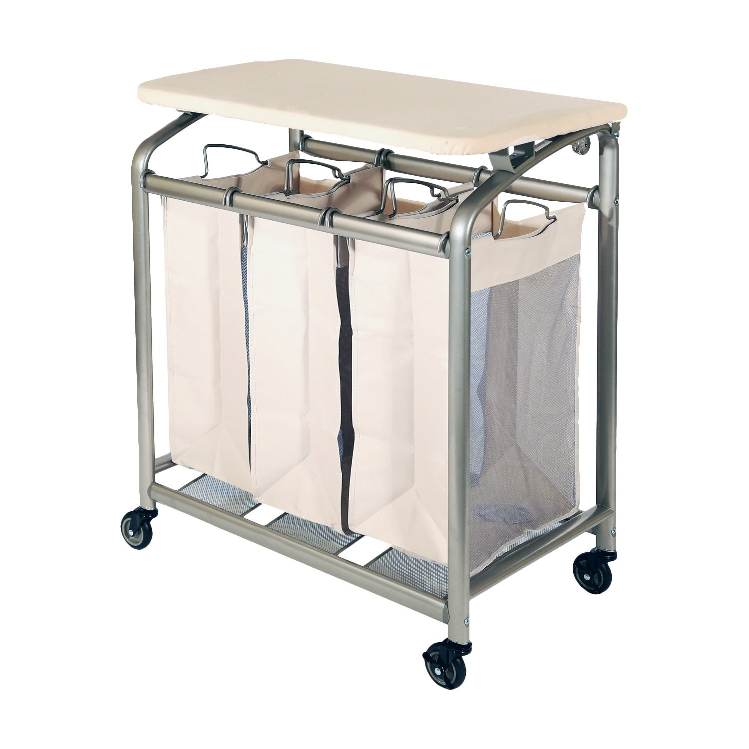3 Bag Versatile and Durable Laundry Sorter with Folding Table