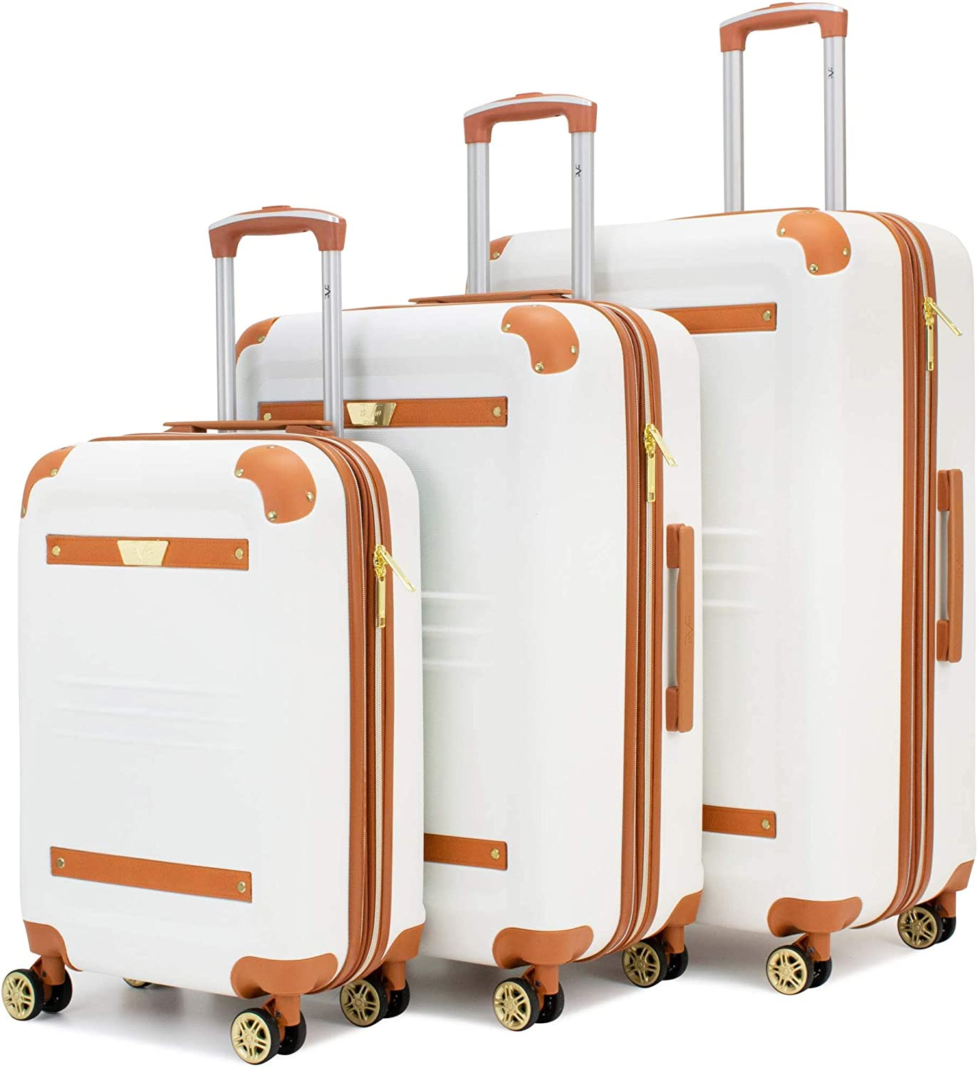 19V69 Italia Vintage 3 Piece Expandable Hard Spinner Luggage Set