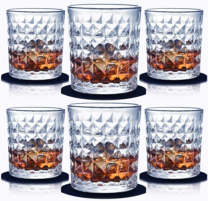 Whiskey Glass Set Of 6 10 Oz Old Fashioned Glasses Crystal Whisky Glass Tumblers For Cocktails Bourbon Scotch Liquor With Coasters And Luxury Box Old Fashioned Glasses Amazon Com