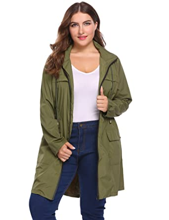 6fca19439fe Image Unavailable. Image not available for. Color  IN VOLAND Women Plus  Size Lightweight Raincoat Travel Hoodie Rain Jacket Windproof Hiking  Portable ...